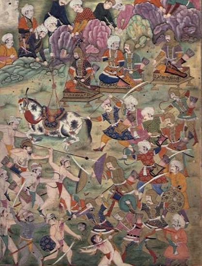 Bătălia de la Ankara ( 20 iulie 1402) Parte a Războaielor otomano-timuride - (Mughal illustration - foto preluat de pe en.wikipedia.org