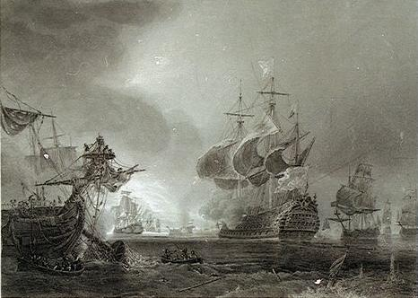 Bătălia de la Beachy Head (10 iulie 1690)   Steel engraving by Jean Antoine Théodore de Gudin - foto preluat de pe ro.wikipedia.org