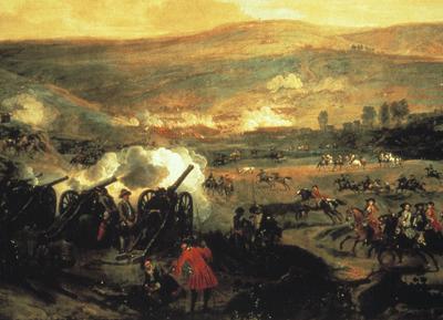 Bătălia de la Boyne (1/11 iulie 1690), parte a Războiului Marii Alianțe - Painting of the battle by Jan Wyck c.1693 - foto preluat de pe ro.wikipedia.org