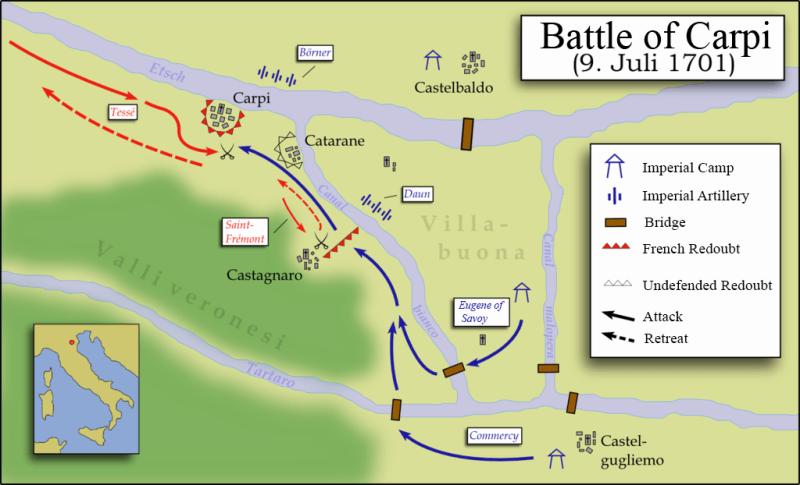 Bătălia de la Carpi (9 iulie 1701) parte din Războiul spaniol de succesiune - foto preluat de pe en.wikipedia.org