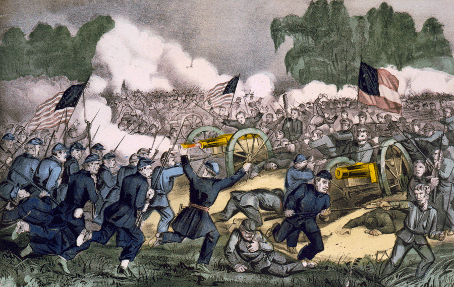 Bătălia de la Gettysburg (1 - 3 iulie 1863) de Currier și Ives - foto preluat de pe ro.wikipedia.org