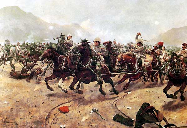"Battle of Maiwand (27 July 1880) Part of Second Anglo-Afghan War - ""Maiwand: Saving the Guns"". Royal Horse Artillery withdrawing from Afghan attack at the Battle of Maiwand, painted by Richard Caton Woodville - foto preluat de pe en.wikipedia.org"