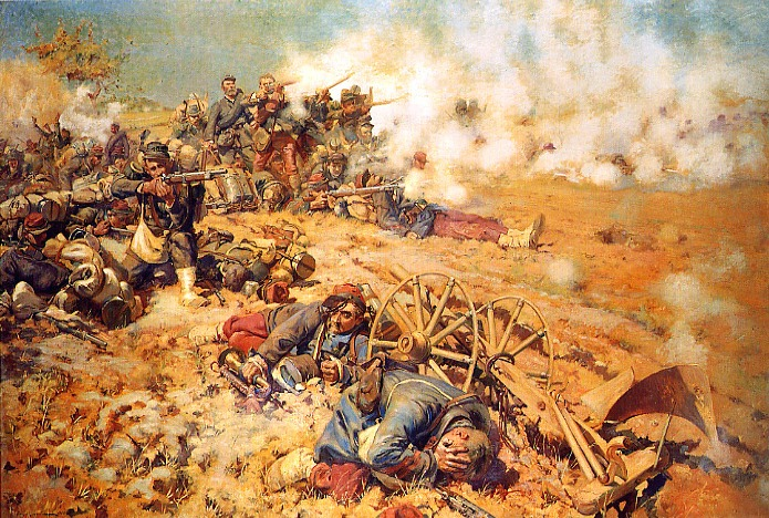 La ligne de feu, 16 août 1870 by Pierre-Georges Jeanniot (1886). French infantry at the battle of Mars-la-Tour ( 16 August 1870), Part of the Franco-Prussian War (19 July 1870 – 28 January 1871) - foto preluat de pe ro.wikipedia.org