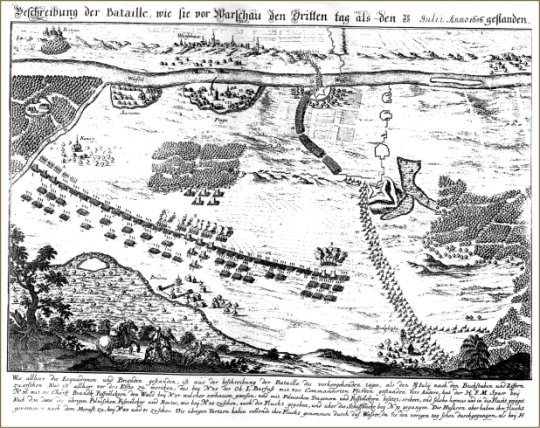 "Bătălia de la Varșovia (28-30 iulie 1656) - ""Battle of Warsaw on the third day"", a contemporary map - foto preluat de pe en.wikipedia.org"