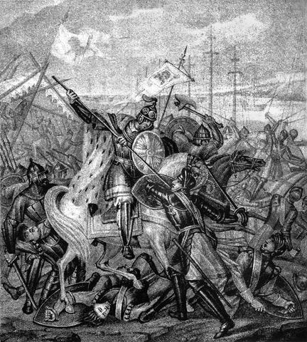 Bătălia de pe Neva (î15 iulie 1240) Parte din Războiul Suedo-Novgorodean - Aleksandr Nevski luptând cu suedezii, de Boris Ceoriko - foto preluat de pe ro.wikipedia.org