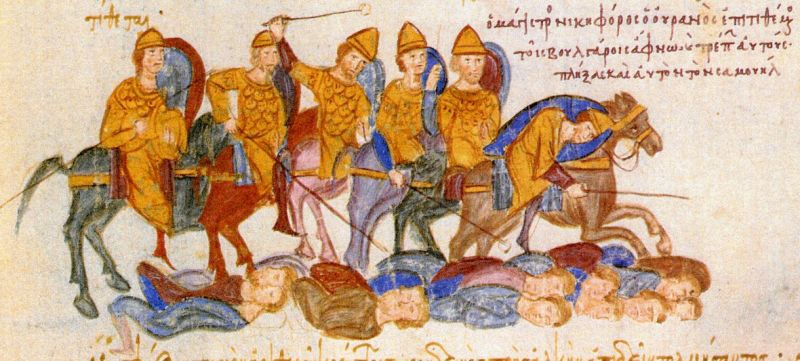 Battle of Kleidion (July 29, 1014) Part of the Byzantine-Bulgarian Wars - The Byzantines defeat the Bulgarians at Kleidion, Madrid Skylitzes - foto preluat de pe en.wikipedia.org