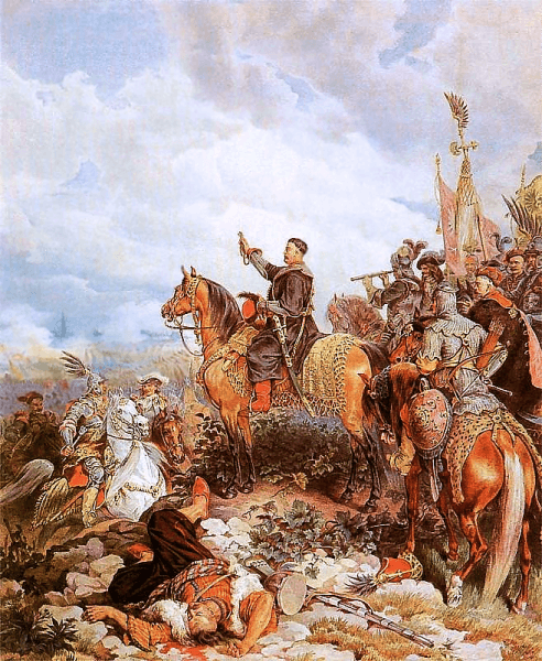 Bătălia de la Viena 1683 - King John III Sobieski blessing the Polish attack on the Ottomans in Battle of Vienna; painting by Juliusz Kossak - foto preluat de pe en.wikipedia.org