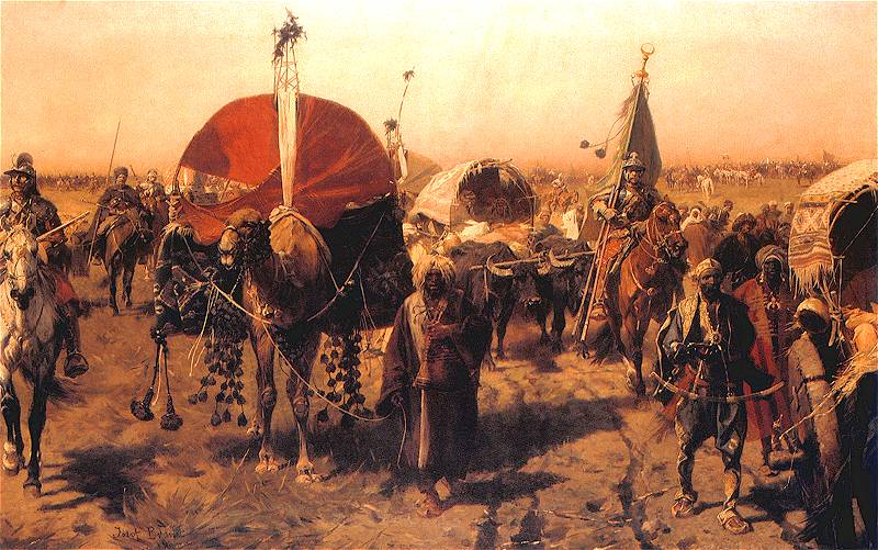 Bătălia de la Viena 1683 - Return from Vienna by Józef Brandt, Polish army returning with Ottoman loot - foto preluat de pe en.wikipedia.org