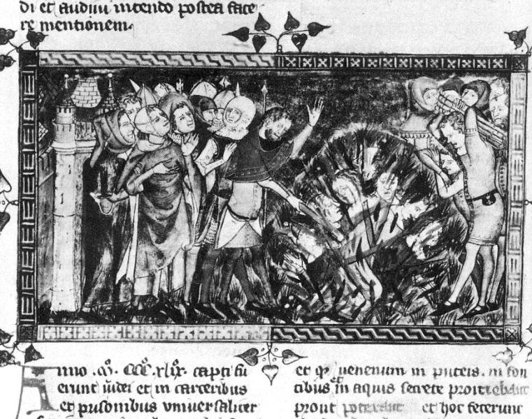 Representation of a massacre of the Jews in 1349 Antiquitates Flandriae (Royal Library of Belgium manuscript 1376/77) - foto preluat de pe en.wikipedia.org