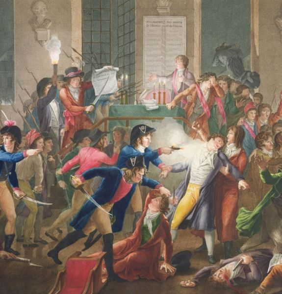 Arrest of Robespierre and his followers. At the centre of the image, gendarme Merda fires at Robespierre. (Colour engraving by Jean-Joseph-François Tassaert after the painting by Fulchran-Jean Harriet - Musée Carnavalet) - foto preluat de pe en.wikipedia.org