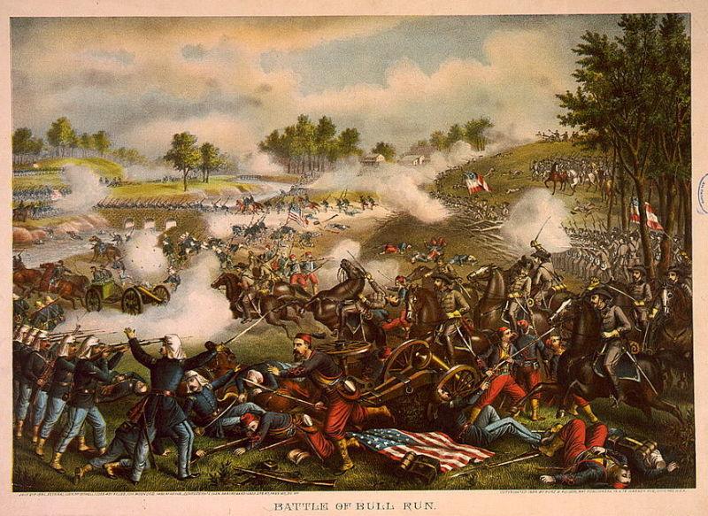 Prima bătălie de pe Bull Run (21 iulie 1861) - Chromolithograph by Kurz & Allison, 1889 - foto preluat de pe en.wikipedia.org