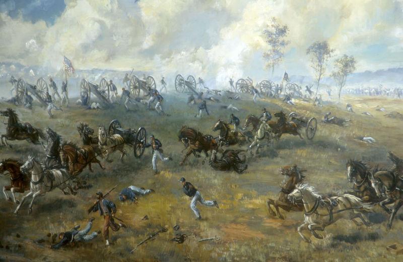 Prima bătălie de pe Bull Run (21 iulie 1861) - Capturarea bateriei lui Ricketts, pictură de Sidney E. King, National Park Service - foto preluat de pe ro.wikipedia.org