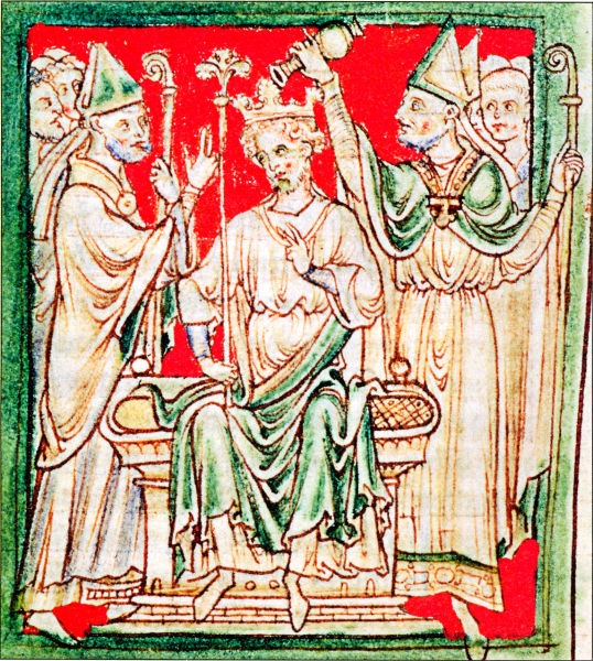Richard I being anointed during his coronation in Westminster Abbey, from a 13th-century chronicle - foto preluat de pe en.wikipedia.org