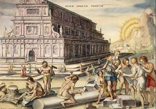 Faima Templului lui Artemis a fost cunoscută în Renaștere, așa cum sa arătat în acest portret imaginat al templului într-o gravură de mână din secolul al XVI-lea, realizată de Martin Heemskerck - foto preluat de pe en.wikipedia.org