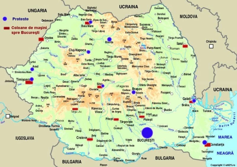 10 august: harta protestelor şi a coloanelor de maşini către Bucureşti, anunţate până la 9 august 2018
