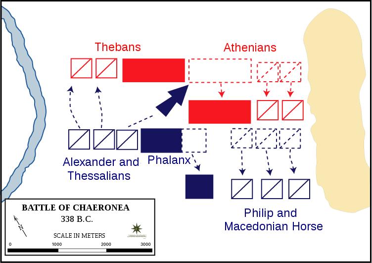 Bătălia de la Cheroneea (2 august 338 î.Hr.) - Battle-plan of Chaeronea - foto preluat de pe en.wikipedia.org