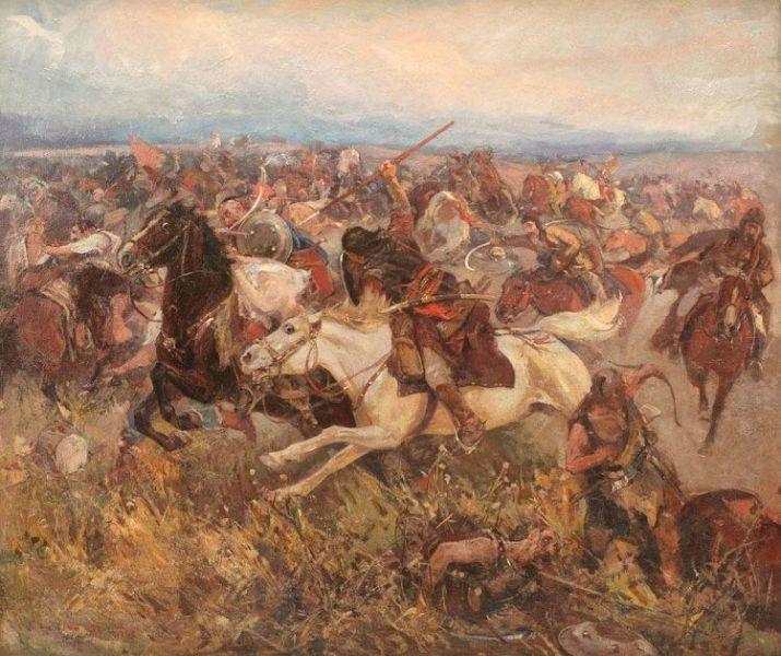 Bătălia de la Lipnic (20 august 1469 sau 1470) - Tablou de Ion Stoica Dumitrescu, intitulat: Bătălia de la Lipnic (Ștefan cel Mare înfruntă Hoarda de Aur a tătarilor de pe Volga, 1470) - foto preluat de pe artindex.ro