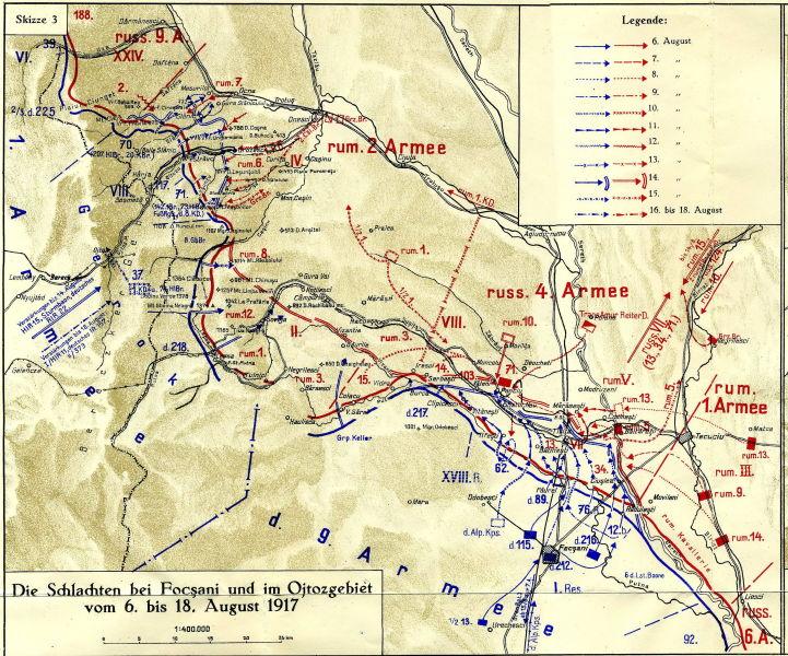Bătălia de la Mărășești (24 iulie/6 august – 6 august/19 august 1917) - Parte a Campaniei militare românești din 1917 din Primul Război Mondial - Desfăşurarea acţiunilor militare, 6-18 august 1916 - foto preluat de pe ro.wikipedia.org