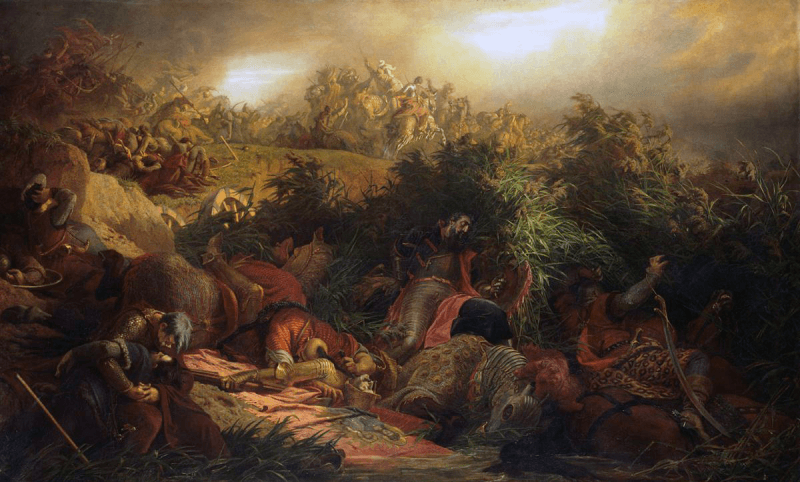 Bătălia de la Mohács (29 august, 1526) Parte din Războaiele otomano-ungare, picturǎ de Bertalan Székely - foto preluat de pe ro.wikipedia.org