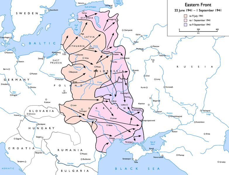 Prima bătălie de la Smolensk (1941) - Parte din luptelor de pe Frontul de răsărit al celui de-al doilea război mondial - Frontul de răsărit în timpul primei bătălii de la Smolensk  - foto preluat de pe ro.wikipedia.org