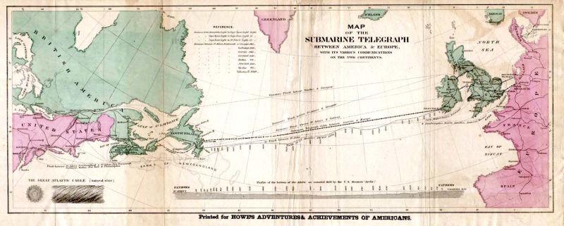 Hartă a rutei cablului transatlantic din 1858 - foto preluat de pe ro.wikipedia.org