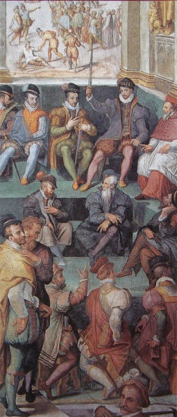 Noaptea Sfântului Bartolomeu (23 - 24 august 1572) - Carol al IX-lea în faţa parlamentului din Paris, frescă de Giorgio Vasari comandată de Papa Grigore al XIII-lea, Sala regia Vatican - foto preluat de pe ro.wikipedia.org