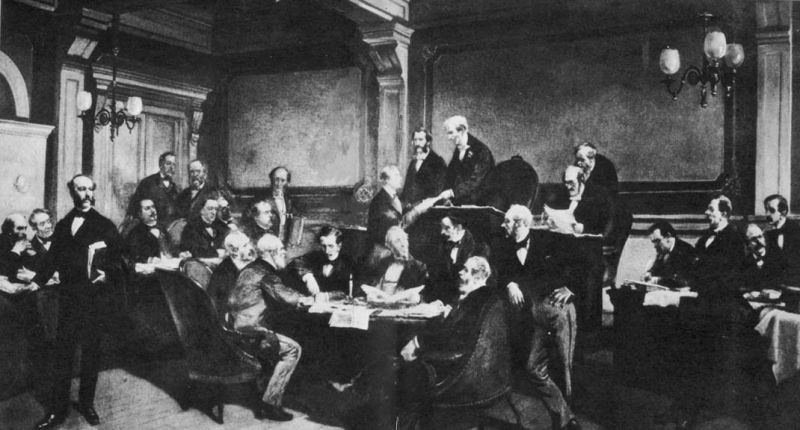 Semnarea Primei Convenţii de la Geneva de către o parte a puterilor europene în 1864 - foto preluat de pe ro.wikipedia.org