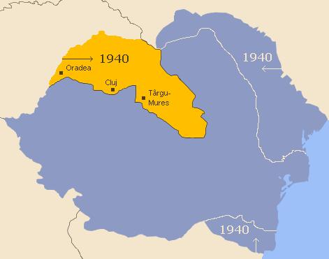 Harta României interbelice: în galben este marcată porţiunea cedată Ungariei în urma Dictatului de la Viena (30 august 1940) - foto preluat de pe ro.wikipedia.org