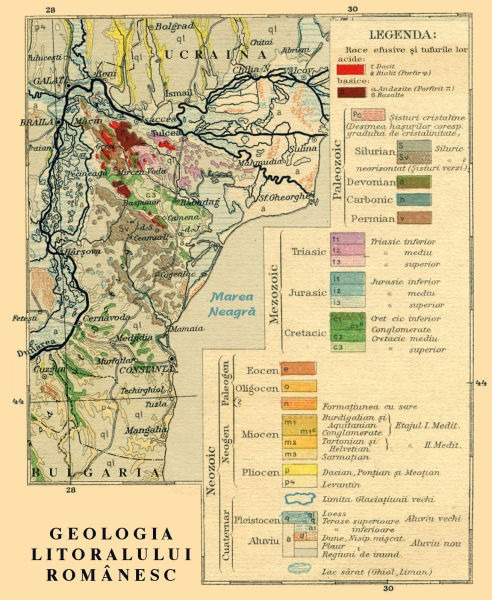 Harta geologică a Dobrogei, actualizată după Gr. Cobălcescu, N.A. Constantinescu, Const. Teodorescu (1910) - foto preluat de pe ro.wikipedia.org
