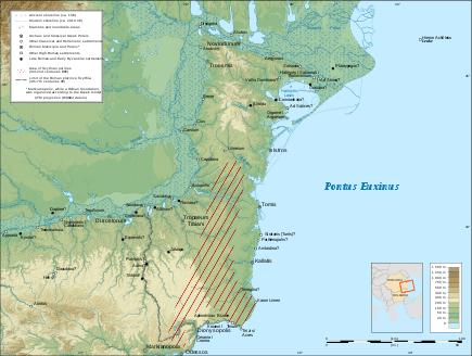 Harta provinciei romane Scythia minor - foto preluat de pe ro.wikipedia.org