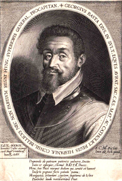 Gheorghe (Giorgio) Basta (n. 30 ianuarie 1550, Roccaforzata, în apropiere de Taranto, pe atunci în Regatul Neapolelui - d. 26 august 1607, Praga) a fost un general italian de origine albaneză, angajat de împăratul Sfântului Imperiu Roman de Naţiune Germană pentru a conduce forţele habsburgice în războaiele antiotomane (1591-1606) şi ulterior pentru a administra Transilvania ca vasal imperial. Din ordinul său a fost ucis în 1601 în apropiere de Turda aliatul său, voievodul Mihai Viteazul - foto preluat de pe ro.wikipedia.org