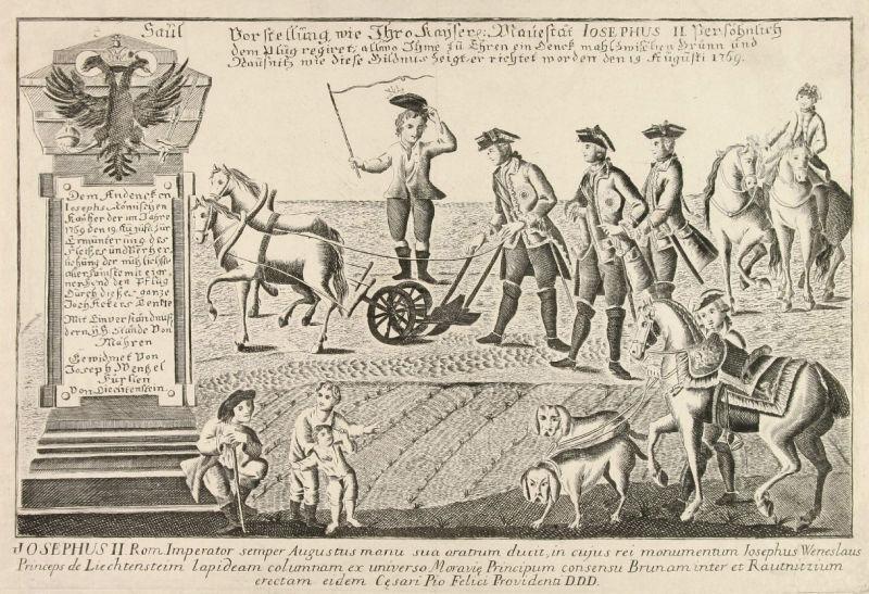 Joseph II depicted plowing a field near Slawikowitz in rural southern Moravia on 19 August 1769 - foto preluat de pe en.wikipedia.org