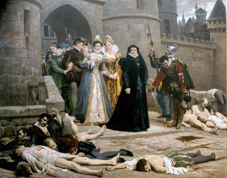 Caterina de Medici în faţa Luvrului după Noaptea Sfântului Bartolomeu (23 – 24 august 1572) - tablou de Debat Ponsan - foto preluat de pe ro.wikipedia.org