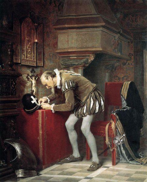 Pregătire pentru masacrul din noaptea Sfântului Bartolomeu (23 – 24 august 1572) de Kãrlis Hũns (1868) - foto preluat de pe ro.wikipedia.org