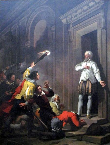 Noaptea Sfântului Bartolomeu (23 - 24 august 1572) - Amiralul Coligny în faţa asasinilor - foto preluat de pe ro.wikipedia.org