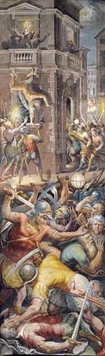 Noaptea Sfântului Bartolomeu (23 - 24 august 1572) - frescă de Giorgio Vasari. Sus în stânga se vede defenestrarea amiralului Coligny - foto preluat de pe ro.wikipedia.org