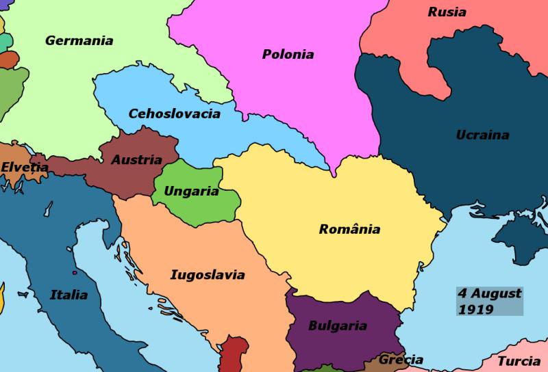 Harta 4 august 1919 - foto preluat de pe ro.wikipedia.org