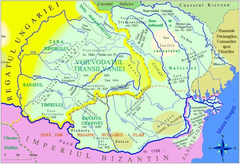 Formaţiunile politice din secolele IX - XIII pe teritoriile româneşti - foto preluat de pe ro.wikipedia.org