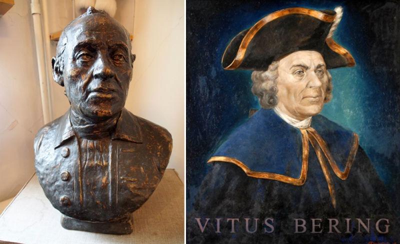 Vitus Jonassen Bering (n. 12 august 1681, Horsens, Danemarca - d. 19 decembrie 1741, Insula Bering, Rusia) a fost un explorator danez în serviciul Marinei Ruse, un căpitan-komandor cunoscut marinarilor ruși drept Ivan Ivanovici. El a fost primul european care a descoperit Alaska și Insulele Aleutine. Strâmtoarea Bering, Marea Bering, Insula Bering, Ghețarul Bering și Puntea Bering poartă numele exploratorului (post-mortem reconstruction of Bering's face) - foto preluat de pe en.wikipedia.org