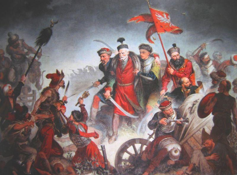 Bătălia de la Țuțora (17 septembrie - 7 octombrie 1620) - Parte din Războaiele Moldoveano-Polone şi Războaiele magnaţilor polonezi în Moldova (1593-1621) - Moartea hatmanului Żółkiewski în bătălia de la Cecora, pictură de Walery Eljasz-Radzikowski - foto preluat de pe ro.wikipedia.org