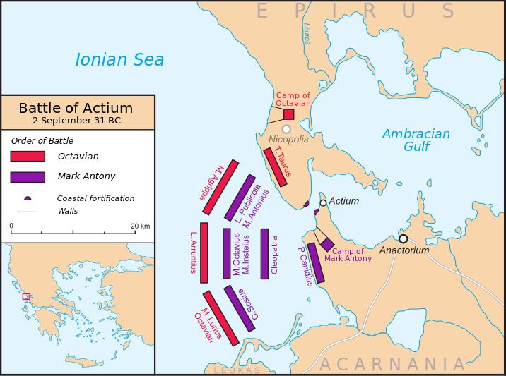 Bătălia de la Actium (2 septembrie 31 î. Hr.) - Ordinul de luptă - foto preluat de pe ro.wikipedia.org