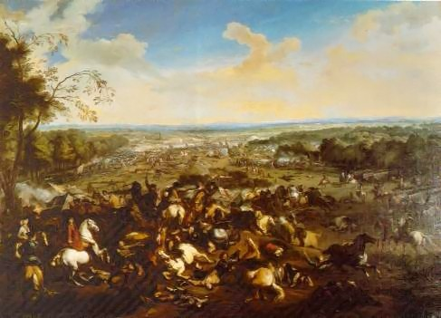 Bătălia de la Malplaquet (11 septembrie 1709) parte a Războiului Succesiunii Spaniole (1701 – 1714) -  (vedere laterală din partea Marii Alianțe) - foto preluat de pe ro.wikipedia.org