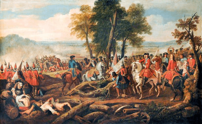 Battle of Malplaquet (11 September 1709) Part of the War of the Spanish Succession (1701 – 1714) - (The Duke of Marlborough and Prince Eugene Entering the French Entrenchments by Louis Laguerre) - foto preluat de pe en.wikipedia.org