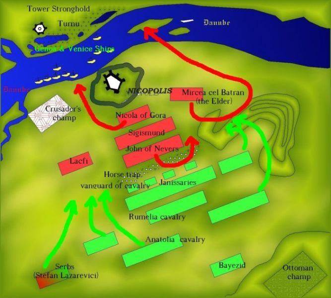Bătălia de la Nicopole - (25 septembrie 1396) Parte din Războaiele otomane din Europa - Harta Bătăliei - foto preluat de pe ro.wikipedia.org