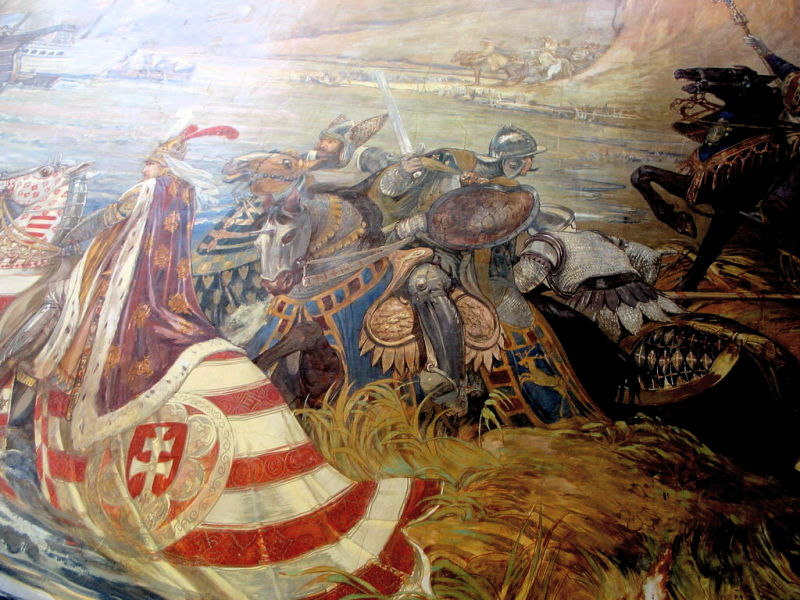 Bătălia de la Nicopole - (25 septembrie 1396) Parte din Războaiele otomane din Europa - Titus Fay saves King Sigismund of Hungary in the Battle of Nicopolis. Painting in the Castle of Vaja, creation of Ferenc Lohr, 1896 - foto preluat de pe en.wikipedia.org