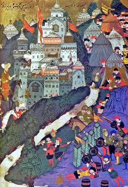 Bătălia de la Nicopole - (25 septembrie 1396) Parte din Războaiele otomane din Europa - The Battle of Nicopolis, as depicted by Turkish miniaturist Nakkaş Osman in the Hünername, 1584–88 - foto preluat de pe en.wikipedia.org