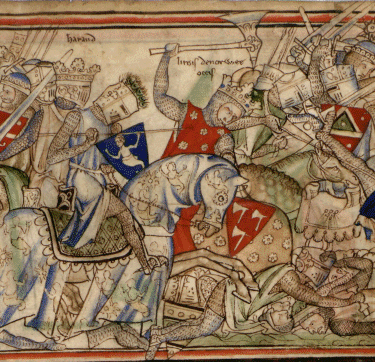 Bătălia de la Stamford Bridge (25 septembrie 1066) - The Battle of Stamford Bridge and the death of Harald Hardrada (wielding a battleaxe) - foto preluat de pe en.wikipedia.org