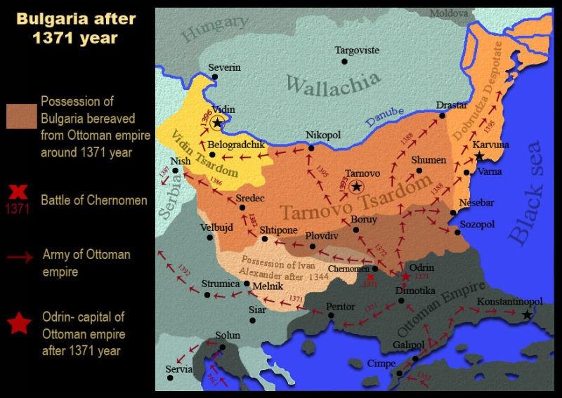 Avansul Imperiului Otoman după Bătălia de pe Mariţa (26 septembrie 1371) - foto preluat de pe ro.wikipedia.org