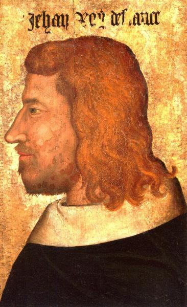 Ioan al II-lea (16 aprilie 1319 – 8 aprilie 1364), numit Ioan cel Bun (franceză Jean le Bon), a fost rege al Franţei din 1350 până la moartea sa. A fost al doilea suveran al Casei de Valois şi probabil este cel mai bine cunoscut ca regele care a fost învins în Bătălia de la Poitiers şi luat prizonier în Anglia - Portret al regelui Ioan, pictură pe lemn, ca. 1350, Muzeul Luvru - foto preluat de pe ro.wikipedia.org