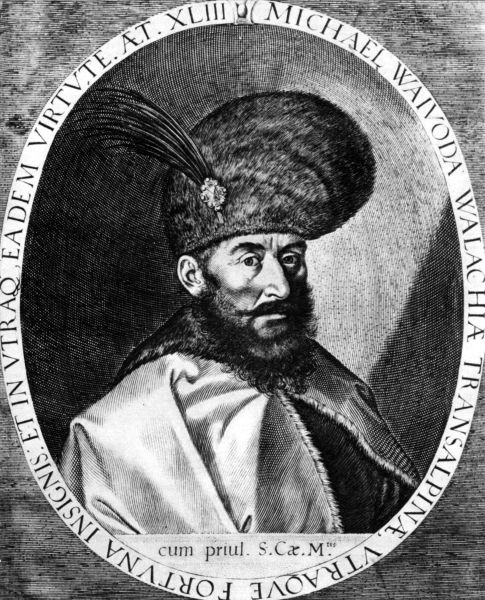 Mihai Viteazul (n. 1558, Floci, Ţara Românească – d. 9/19 august 1601, Câmpia Turzii, Principatul Transilvaniei) a fost domnul Ţării Româneşti între 1593-1600. Pentru o perioadă (în 1600), a fost conducător de facto al celor trei mari ţări medievale care formează România de astăzi: Ţara Românească, Transilvania şi Moldova. Înainte de a ajunge pe tron, ca boier, a deţinut dregătoriile de bănişor de Strehaia, stolnic domnesc şi ban al Craiovei. Figura lui Mihai Viteazul a ajuns în panteonul naţional românesc după ce a fost recuperată de istoriografia românească a secolului al XIX-lea, un rol important jucându-l opul Românii supt Mihai-Voievod Viteazul al lui Nicolae Bălcescu. Astfel voievodul a ajuns un precursor important al unificării românilor, care avea să se realizeze în secolul al XX-lea - portretul de la Praga realizat de Egidius Sadeler, din anul 1601 - foto preluat de pe ro.wikipedia.org